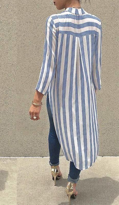 Blusa Listrada Decote V - Ref.1040 - comprar online