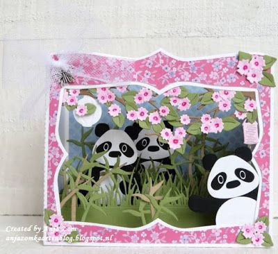 Handmade box card by DT member Anja with Craftables Box Card (CR1374) and Collectables Eline's Panda & Bear (COL1409) from Marianne Design