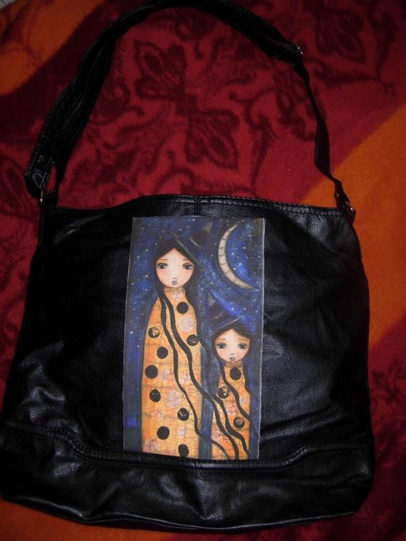 Large Art  Boho Handbag Leather like with a fabric Art by eltsamp, $93.00