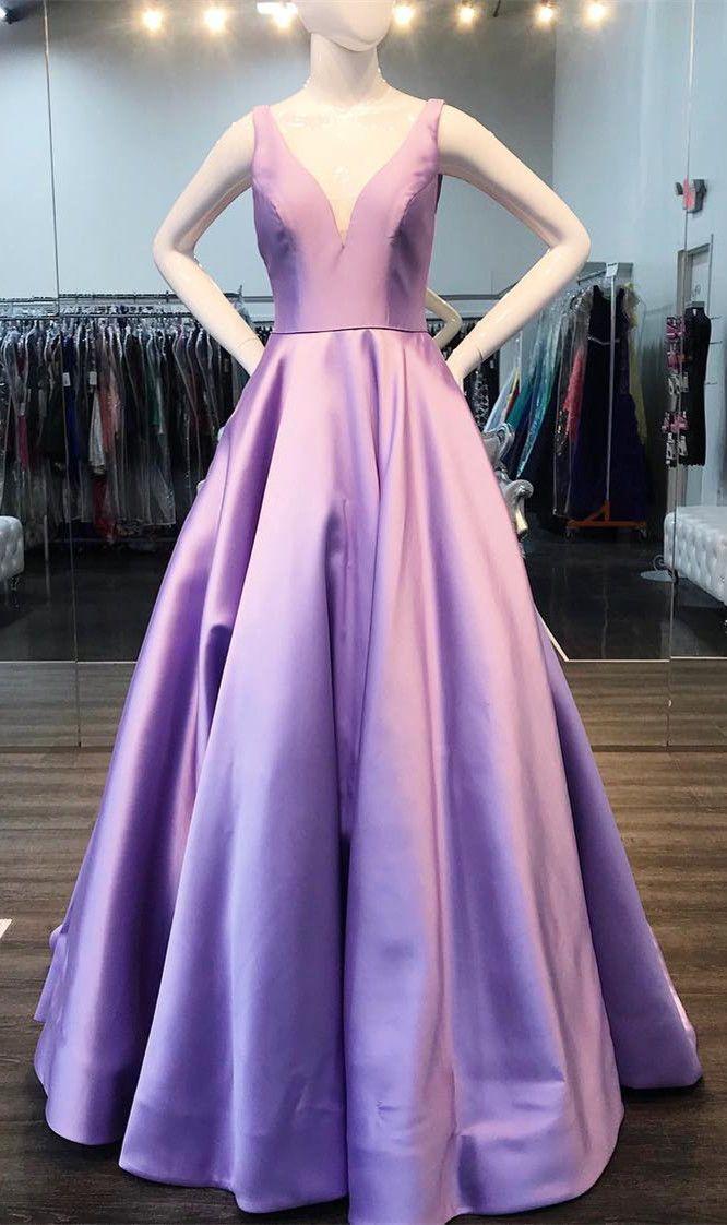 3906669b03f Princess V Neck Yellow Long Prom Dress in 2019