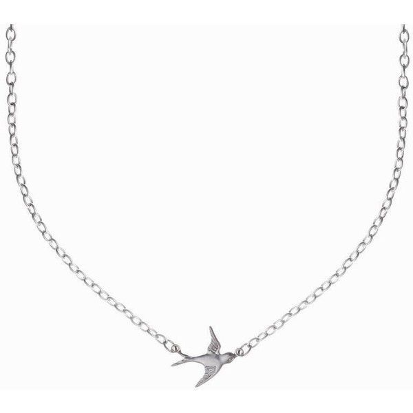 Minnie Grace Silver Swallow Charm Necklace ($20) ❤ liked on Polyvore featuring jewelry, necklaces, silver, silver jewellery, chains jewelry, silver chain necklace, charm chain necklace and silver jewelry