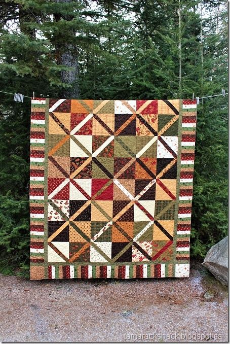 "simple and quick layer cake quilt - using 10"" squares.  there is a link in the post for the free youtube tutorial"