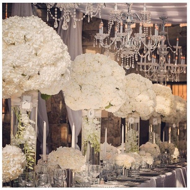Simply stunning Wedding Reception arrangements using White Hydrangeas, silver and crystal. Timeless. Elegant. Sophisticated. Black Tie Worthy event decor!