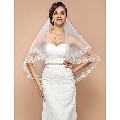Fashion One-tier Elbow Veil With Lace Applique Edge – USD $ 14.99