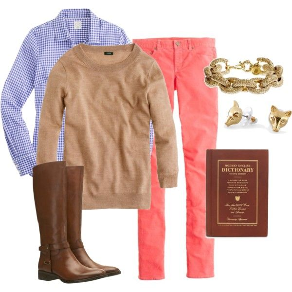 coral skinny cords, blue gingham shirt, camel sweater, and brown riding boots