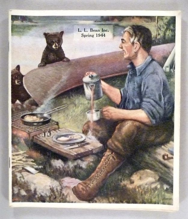 A camper spilling coffee after seeing two curious baby bears? That's pretty freakin' adorable. | These Vintage L.L. Bean Catalog Covers Are Either Terrifying Or Adorable