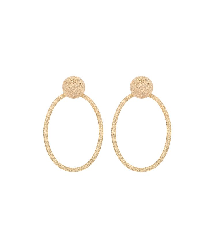 Carolina Bucci: Our signature Florentine Finish is achieved by beating each piece with a diamond tipped tool, which leaves permanent faceted dents in the gold.  Available in 18k Yellow, White, Pink or Black Gold, these earrings feature a button studtop and are approximately 2 cm in diameter andapproximately 3.5 cmlong.Please note that as each product is made by hand, there may be slight natural variations in the lengthor tone of pieces.