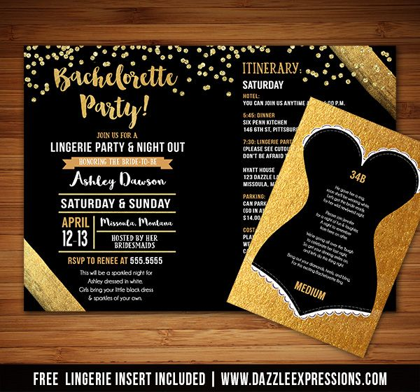 Printable Gold Bachelorette Party Invitation with Weekend Itinerary | Gold Glitter Confetti | Gold Foil | Bride to Be | Wedding | Lingerie Sizes Card Included | DIY | Digital File | Matching Printable Party Package Decorations Available! Banner | Cupcake Toppers | Favor Tag | Food and Drink Labels | Signs | Candy Bar Wrapper | www.dazzleexpressions.com