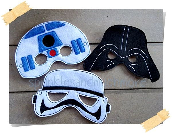 Star Wars-Stormtrooper, R2D2, Darth Vader Creative Play Mask--Set of all 3 FREE SHIPPING by SprinklesandMuchMore on Etsy