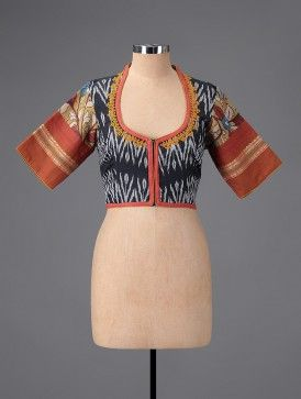 Black-Rust Hand-painted Kalamkari Ikat Cotton Blouse with Embroidery