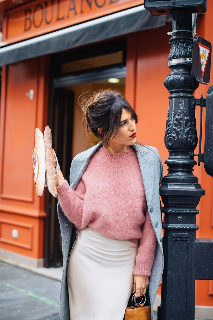 """Friday: """"The Parisian way to be chic is to look super sharp for everyday things and then do effortless casual for night occasions. A sweater over this gown turns it into a skirt for a trip to the market."""" Armani Exchange coat, $300, Armani Exchange; Kumi Kookoon gown, $189, Kumi Kookoon; Simon Miller bag, $390, Simon Miller"""