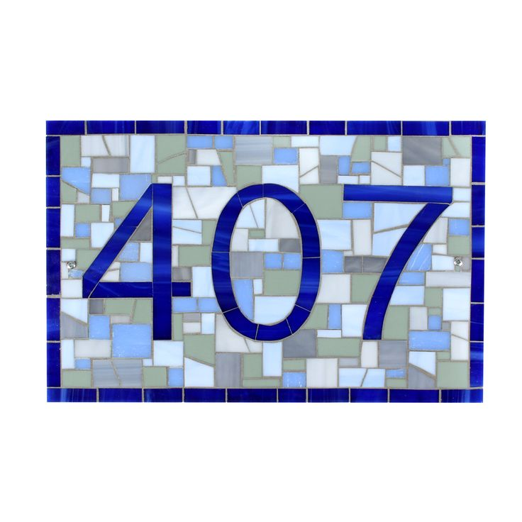 Outdoor House Number Plaque in Blue and Grey Mosaic Tile by LiveInMosaics on Etsy https://www.etsy.com/listing/512694711/outdoor-house-number-plaque-in-blue-and