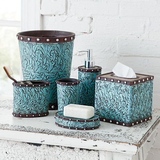 17 best images about western bathroom trends on pinterest for Turquoise and brown bathroom sets