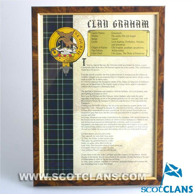 Framed Clan History Print New Exclusive Scottish Clans Tartans Kilts Crests And Gifts