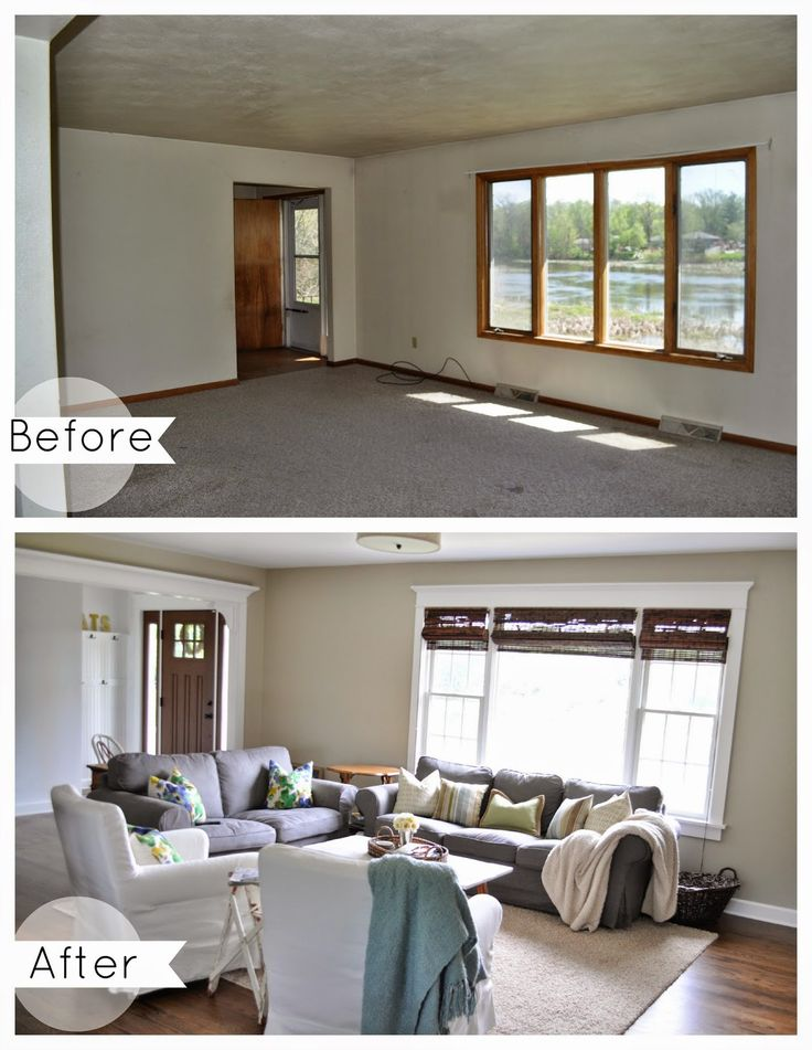 Living Room Before and After. Benjamin Moore Grant Beige