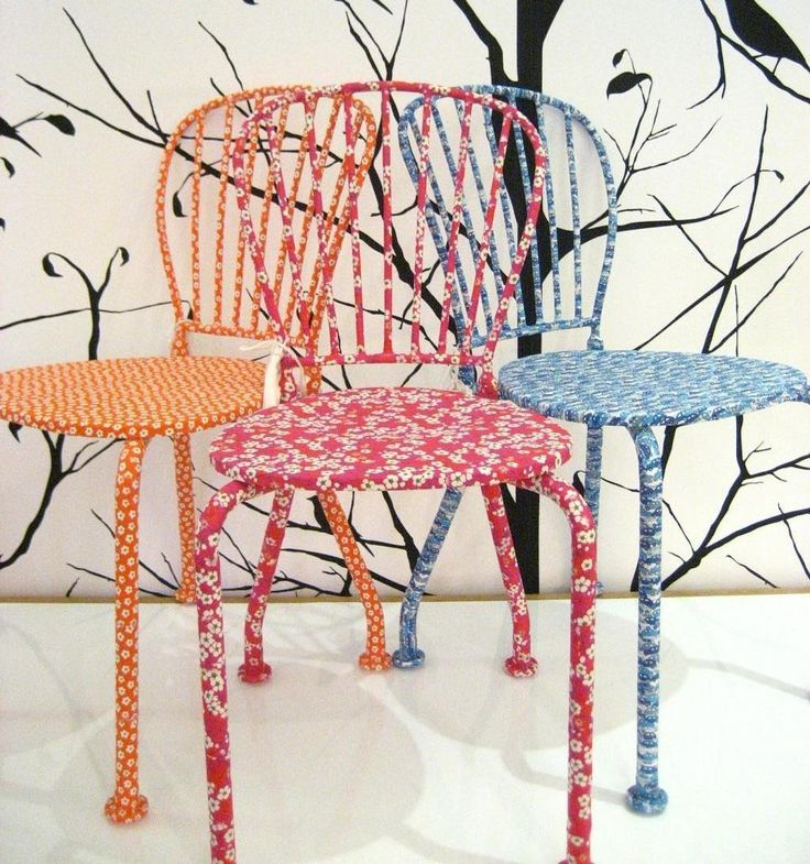 Liberty fabric covered chairs