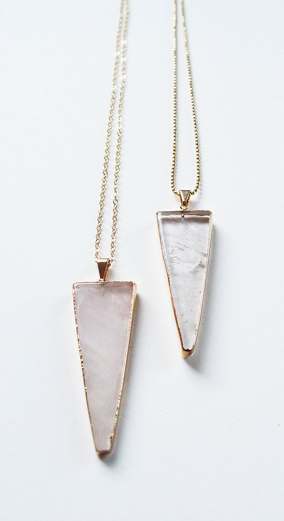 SALE Rose Quartz Triangle Gold Necklace by friedasophie on Etsy