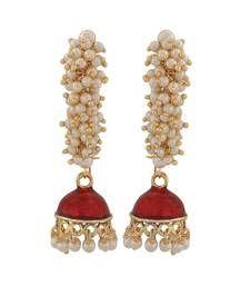 Buy Great Red White Pearl Sangeet Jhumki Earrings jhumka online