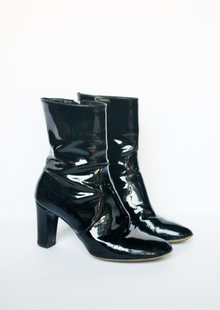 159c9462017 AQUATALIA ANKLE BOOTS 8 $450 Black Patent Leather Waterproof Booties ...