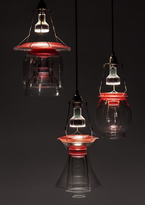 Lights that combine vintage glass with coloured resin