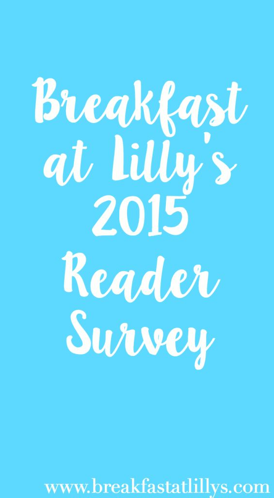 Today I am conducting my first ever reader survey on Breakfast at Lilly's. If you frequent my blog, be sure to give me some feedback and be entered to win $50 PayPal cash.