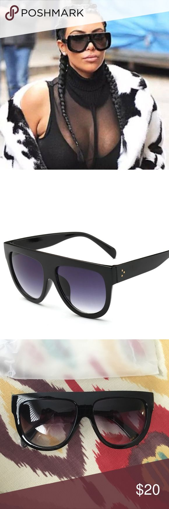 NEW flat front black Luxury sunglasses UV400 2017 Sunglasses worn by many Celebrities boutique Accessories Sunglasses