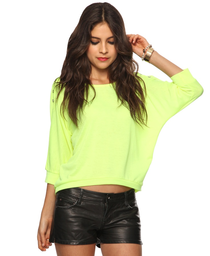 neon green slouchy top with button shoulders