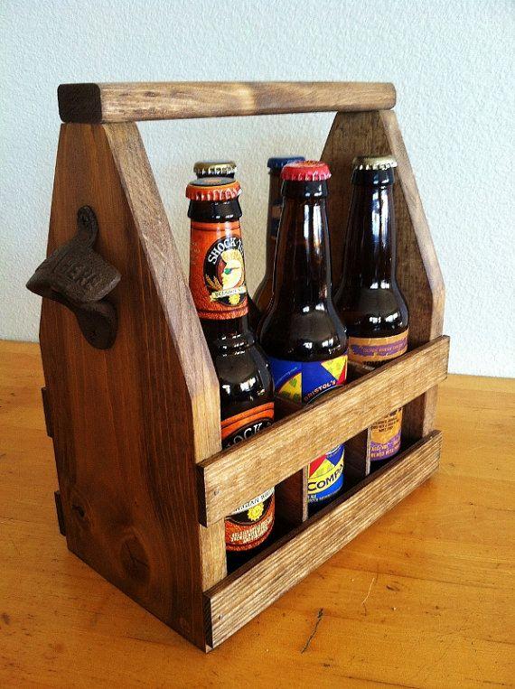 Beer Tote, Handmade Beer Carrier, Wooden Craft Beer Tote, Walnut Stain