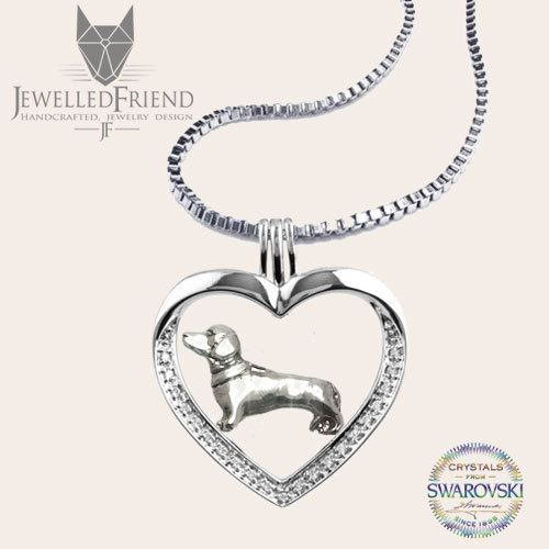 Check out Dachshund jewelry necklace pendant with swarovski crystal on jewelledfriend