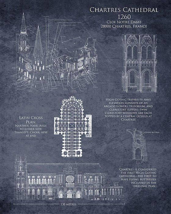 Chartres cathedral art historical blueprint art print art for Famous building blueprints