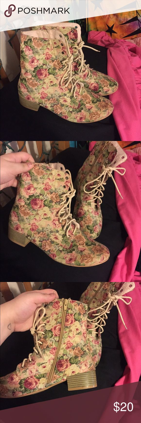 Lace up Floral Combat boots Lace up floral combat boots with zipper on inside, NEVER WORN, size 9 but can fit a size 10 Windsor Shoes Combat & Moto Boots