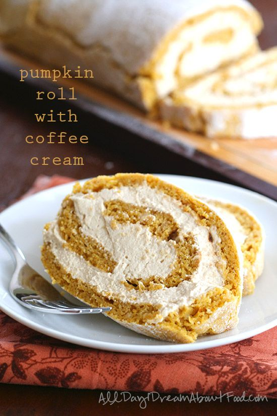A deliciously light, airy low carb pumpkin roll filled with coffee whipped cream. Plus you can win $100 Visa Gift Card! #bh #ad