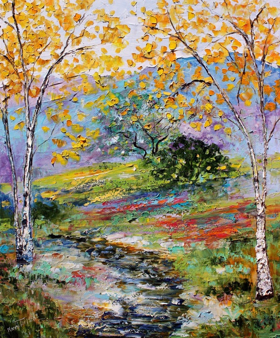Original Sunlit Autumn Stream palette knife painting  by Karensfineart