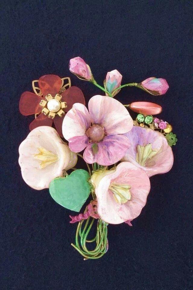 Spilla bouquet con fiori in rete metallo