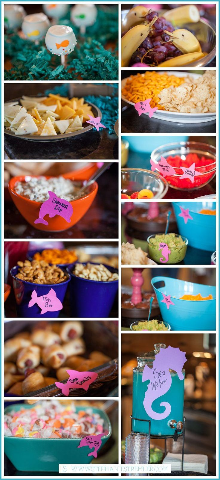 List of Party Food for Sea, Ocean, Beach or Pool Party | Sea Life | Ocean | Beach | Bubble Guppies | Birthday Party | Theme Party | Stephanie Stremler Photography | www.stephaniestremler.com