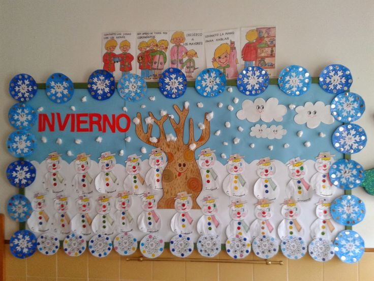 Mural para decorar la clase sobre el Invierno