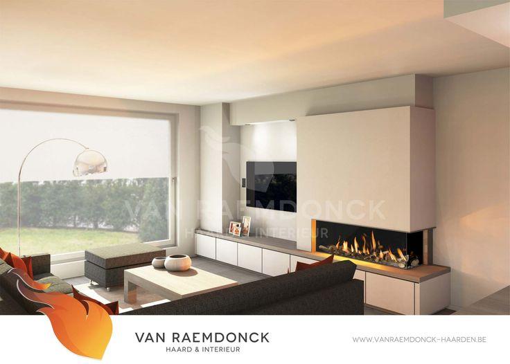Houthaard met modern tv meubel