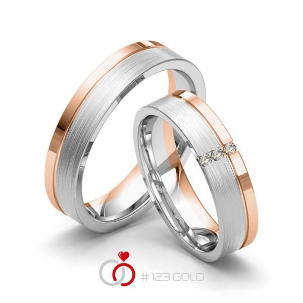 1 Paar Trauringe - Legierung: Weißgold 585/- Rotgold 585/- Breite: 5,00 - Höhe: 1,50 - Steinbesatz: 3 Brillanten zus. 0,03 ct. tw, si (Ring 1 mit Steinbesatz, Ring 2 ohne Steinbesatz)