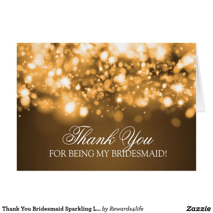 free bridal shower advice card template%0A Thank You Bridesmaid Sparkling Lights Gold Card  Wedding Advice