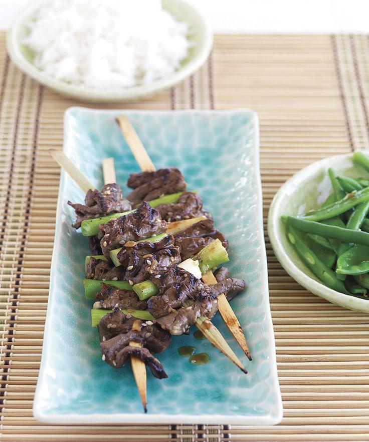 Korean Beef Skewers with Snow Peas & Green Beans