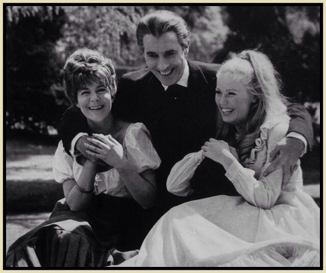 "Having a good laugh with ""Dracula"". Christopher Lee with actresses, Barbara Ewing and Veronica Carlson  during a break while filming ""Dracula Has Risen from the Grave"" at Hammer Studios"