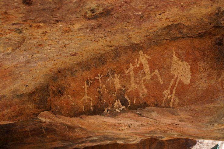 Ancient Aboriginal art at Gundabooka National Park, on the Darling River near Bourke, NSW
