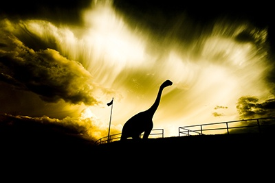 © Jeff Smith FOTOSMITHUSA.COM 2007 dinosaur Parl Rapid City  South Dakota  Sunset www.jpgmag.com