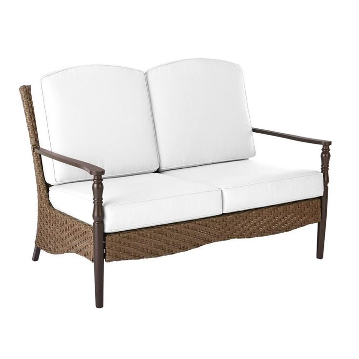 Home Decorators Collection Bolingbrook Wicker Outdoor Loveseat With Cushion  Inserts (Slipcovers Sold Seperately)