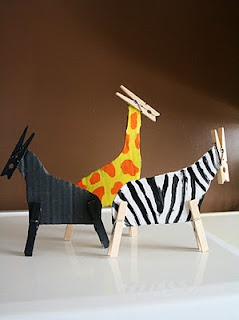 Clothespin animals made with cardboard, paint and glue