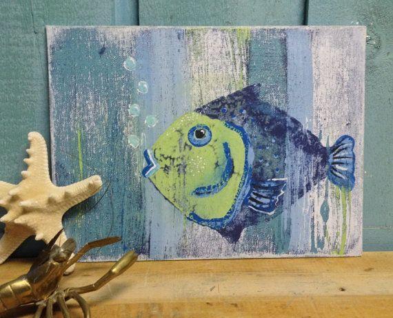 Original Painting Blue Fish Beach House Wall by CastawaysHall