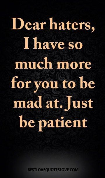 Work Quote : Dear haters I have so much more for you to be mad at. Just be patient