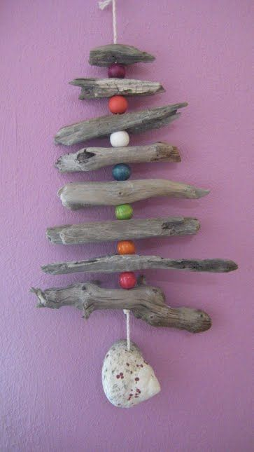 Driftwood and beads mobile