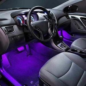 4 Pcs Underdash LED Lighting Kit - Plug and Play with Car Charger!