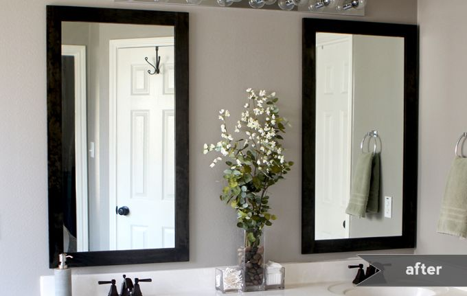 After: Two separate framed mirrors from 1 large vanity mirror (like in my bathrooms). Includes cutting instructions.